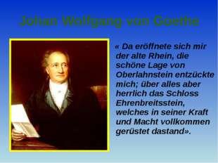 Johan Wolfgang von Goethe « Da eröffnete sich mir der alte Rhein, die schöne