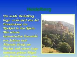 Heidelberg Die Stadt Heidelberg liegt nicht weit von der Einmündung des Neck