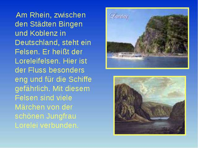Am Rhein, zwischen den Städten Bingen und Koblenz in Deutschland, steht ein...