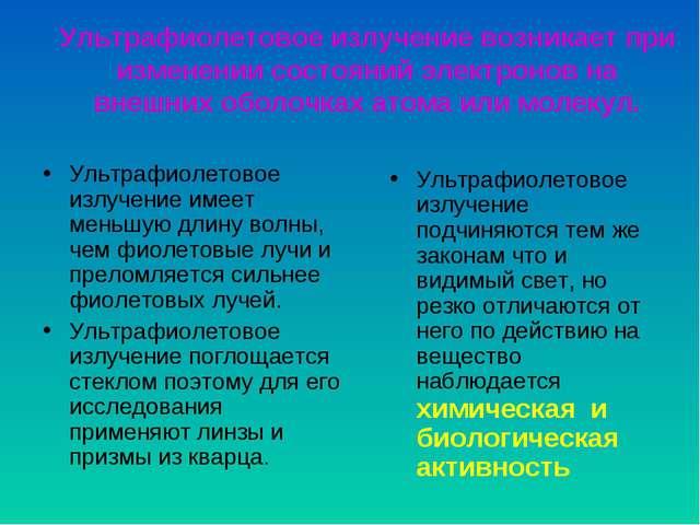 Ультрафиолетовое излучение возникает при изменении состояний электронов на вн...