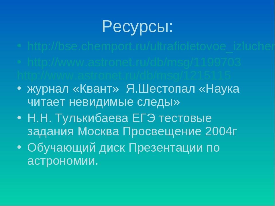 Ресурсы: http://bse.chemport.ru/ultrafioletovoe_izluchenie.shtml http://www.a...