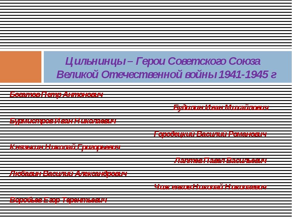 Богатов Петр Антонович Будилин Иван Михайлович Бурмистров Иван Николаевич Гор...