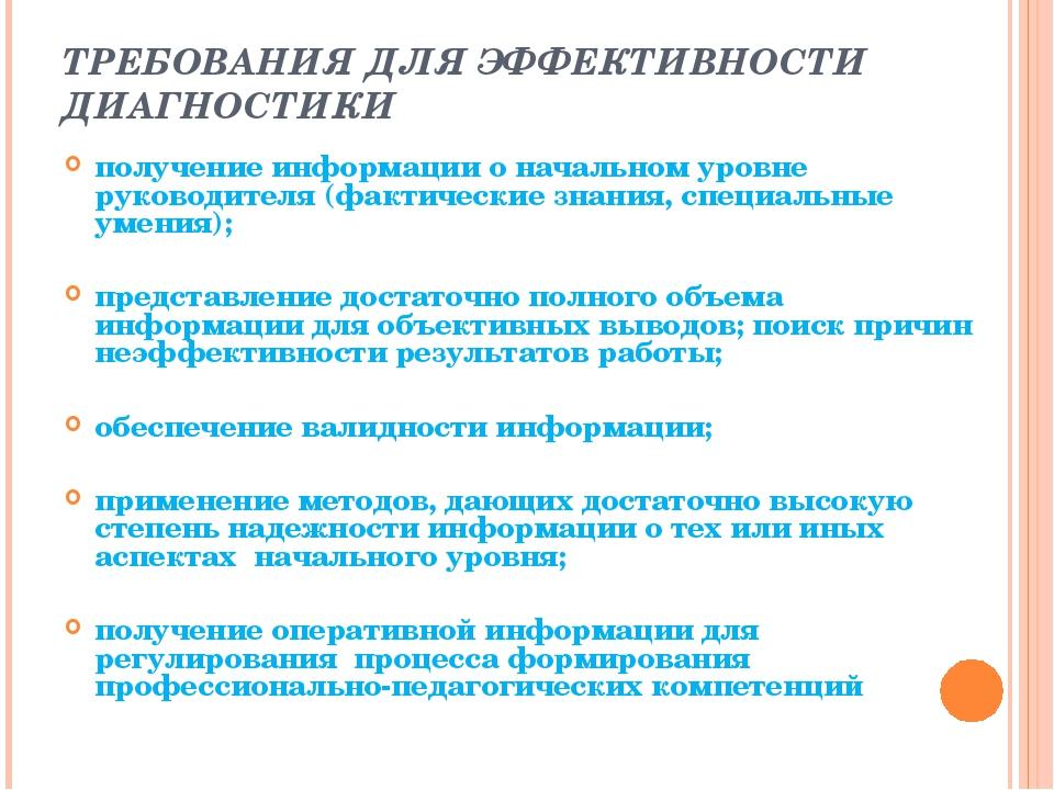 ТРЕБОВАНИЯ ДЛЯ ЭФФЕКТИВНОСТИ ДИАГНОСТИКИ получение информации о начальном уро...
