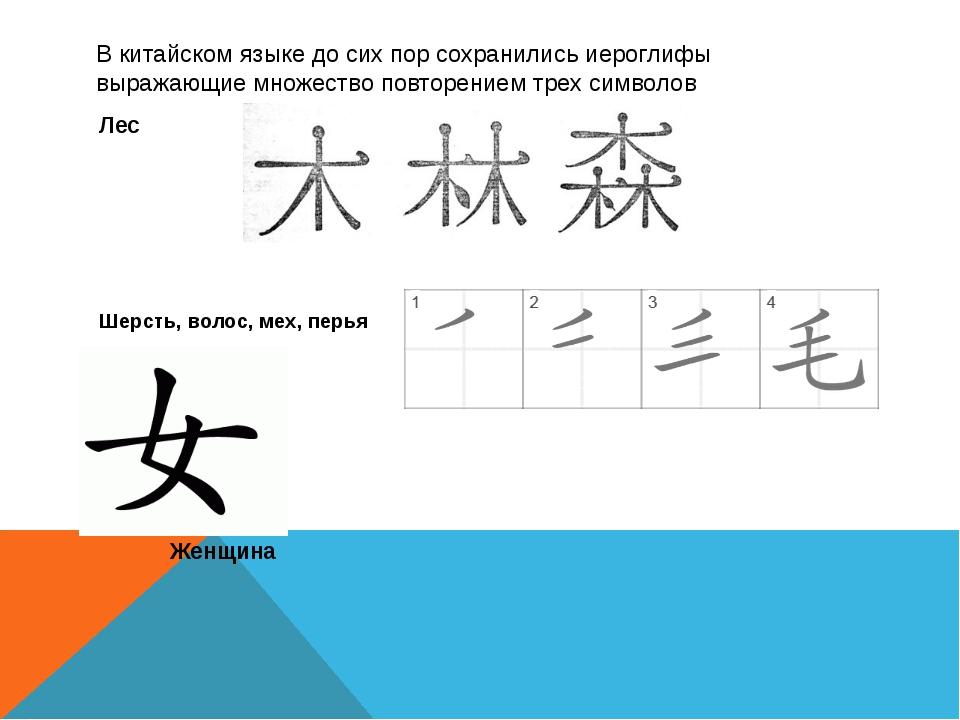 В китайском языке до сих пор сохранились иероглифы выражающие множество повто...
