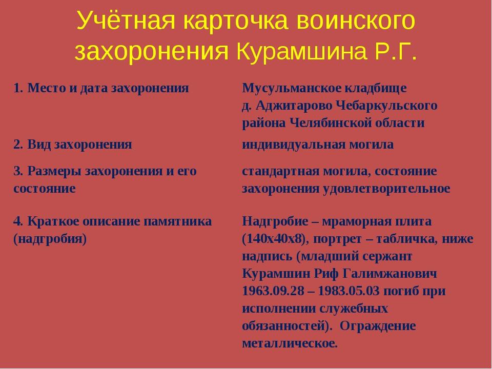 Учётная карточка воинского захоронения Курамшина Р.Г. 1. Место и дата захорон...
