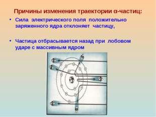 Причины изменения траектории α-частиц: Сила электрического поля положительно