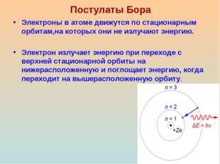 Постулаты Бора Электроны в атоме движутся по стационарным орбитам,на которых