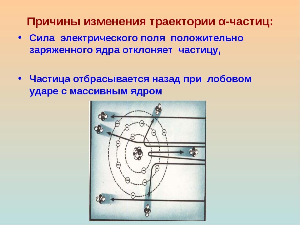Причины изменения траектории α-частиц: Сила электрического поля положительно...