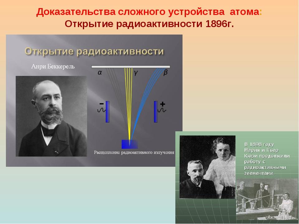 Доказательства сложного устройства атома: Открытие радиоактивности 1896г.