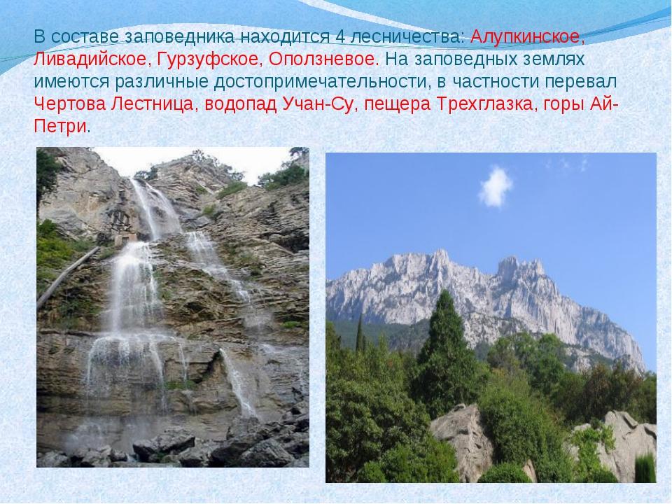 В составе заповедника находится 4 лесничества: Алупкинское, Ливадийское, Гурз...