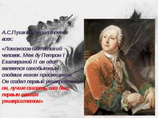 А.С.Пушкин сказал точнее всех: «Ломоносов был великий человек. Между Петром I