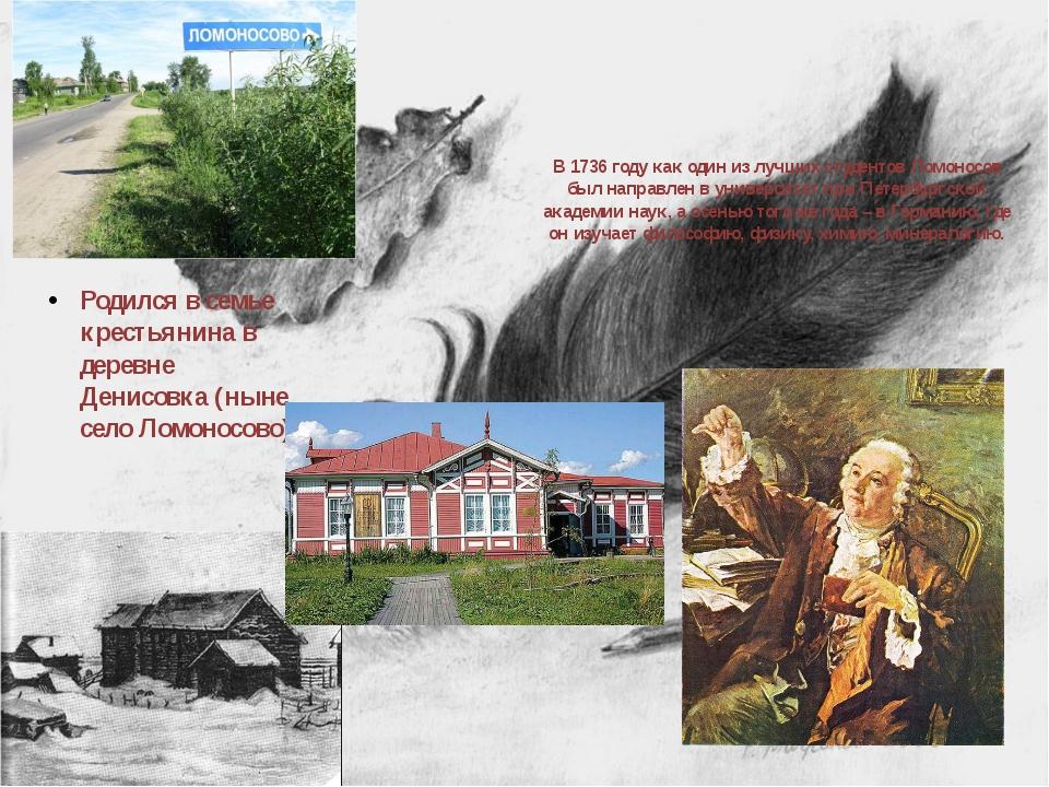 В 1736 году как один из лучших студентов Ломоносов был направлен в университе...