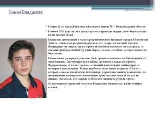 Зимин Владислав Ученик 11-го класса Пильнинской средней школы № 1. Нижегородс