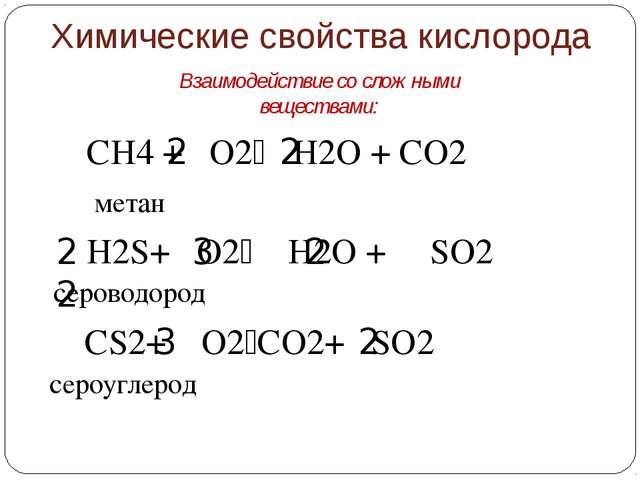 СH4 + О2 H2O + СО2 метан 2 2 H2S+ О2 H2O + SО2 сероводород 2 3 2 2 3 2 CS2...