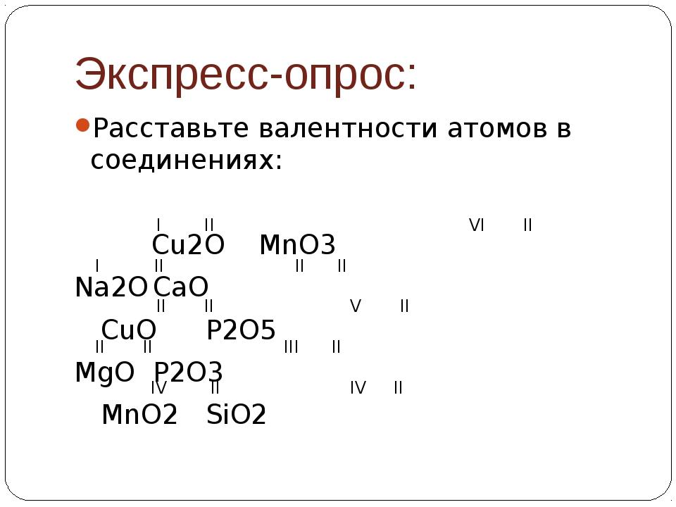 Экспресс-опрос: Расставьте валентности атомов в соединениях:  Cu2OMnO3 N...