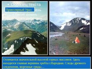 Приполярный Урал Отличается значительной высотой горных массивов. Здесь нахо