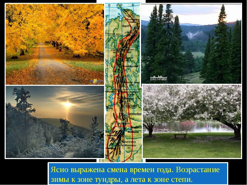Ясно выражена смена времен года. Возрастание зимы к зоне тундры, а лета к зо...