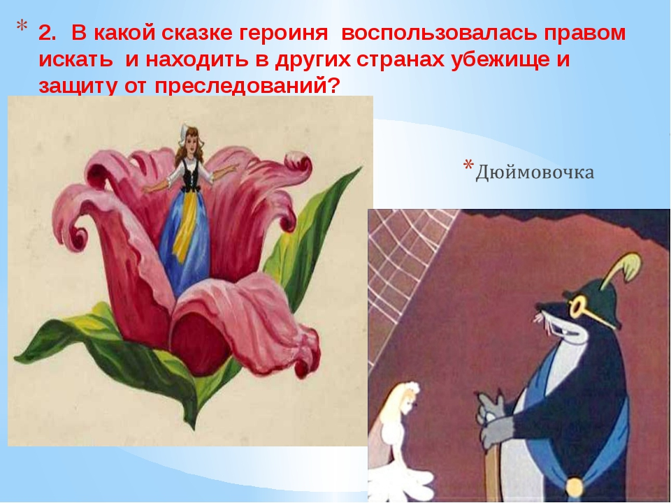 2.В какой сказке героиня воспользовалась правом искать и находить в других с...
