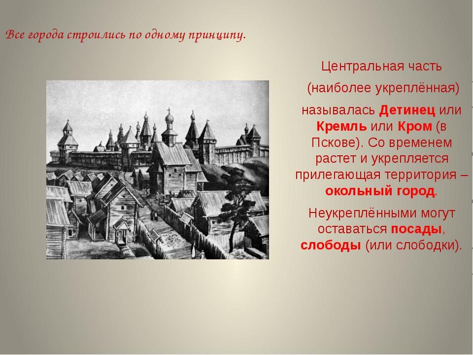 Все города строились по одному принципу. Центральная часть (наиболее укреплён...