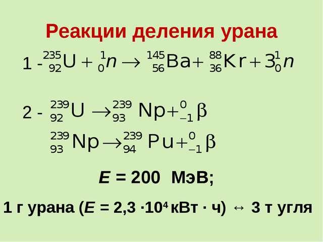 Реакции деления урана Е = 200 МэВ; 1 г урана (Е = 2,3 ∙104 кВт ∙ ч) ↔ 3 т угля