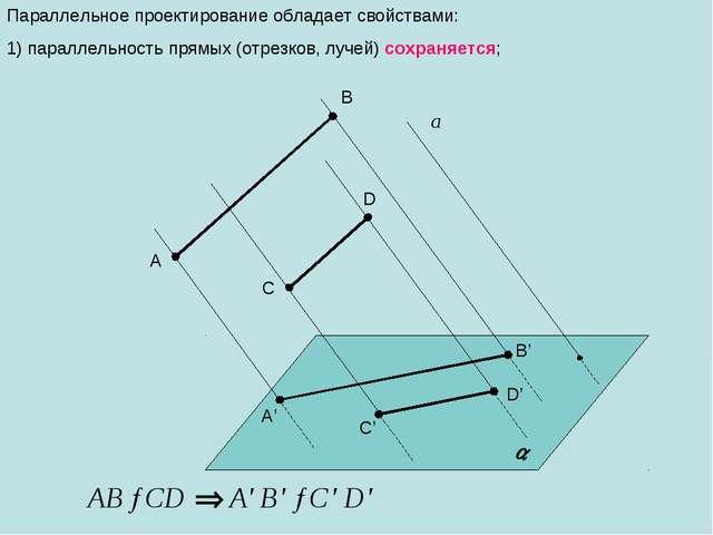 Параллельное проектирование обладает свойствами: 1) параллельность прямых (от...