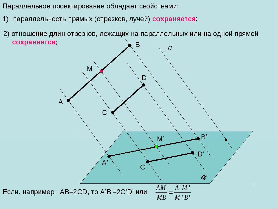 2) отношение длин отрезков, лежащих на параллельных или на одной прямой сохр...