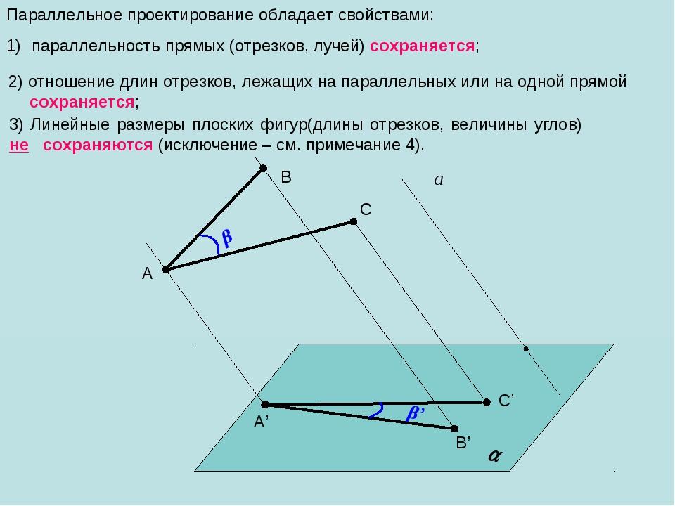 Параллельное проектирование обладает свойствами: параллельность прямых (отрез...