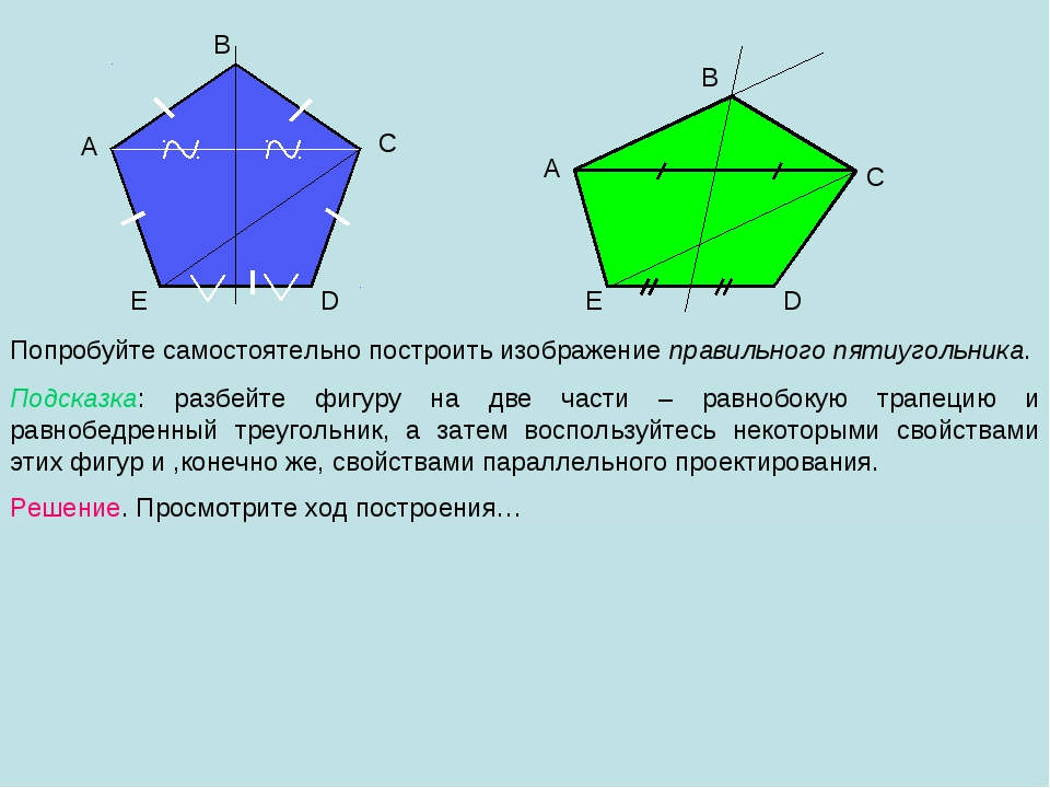 A B C D E Попробуйте самостоятельно построить изображение правильного пятиуго...