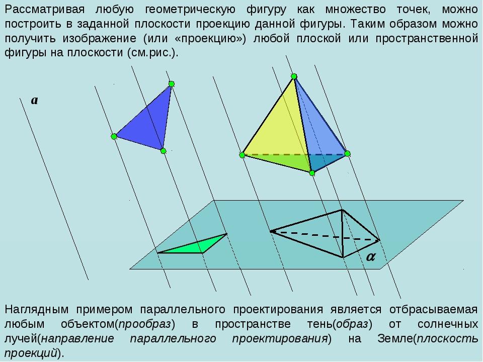 Рассматривая любую геометрическую фигуру как множество точек, можно построить...