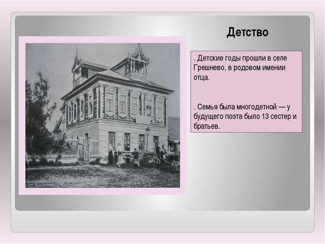 Детство . Детские годы прошли в селе Грешнево, в родовом имении отца. . Се...
