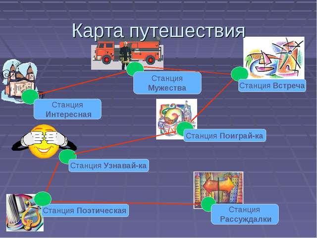 Карта путешествия Станция Интересная Станция Мужества Станция Встреча Станция...