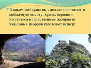 В каком ещё краю вы сможете подняться в заоблачную высоту горных вершин и опу