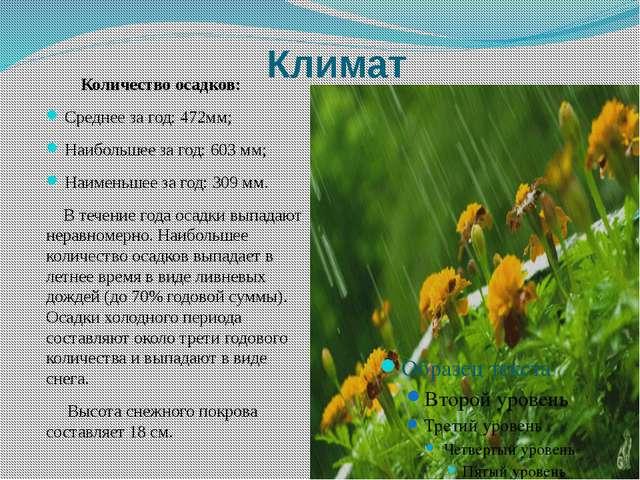 Климат Количество осадков: Среднее за год: 472мм; Наибольшее за год: 603 мм;...