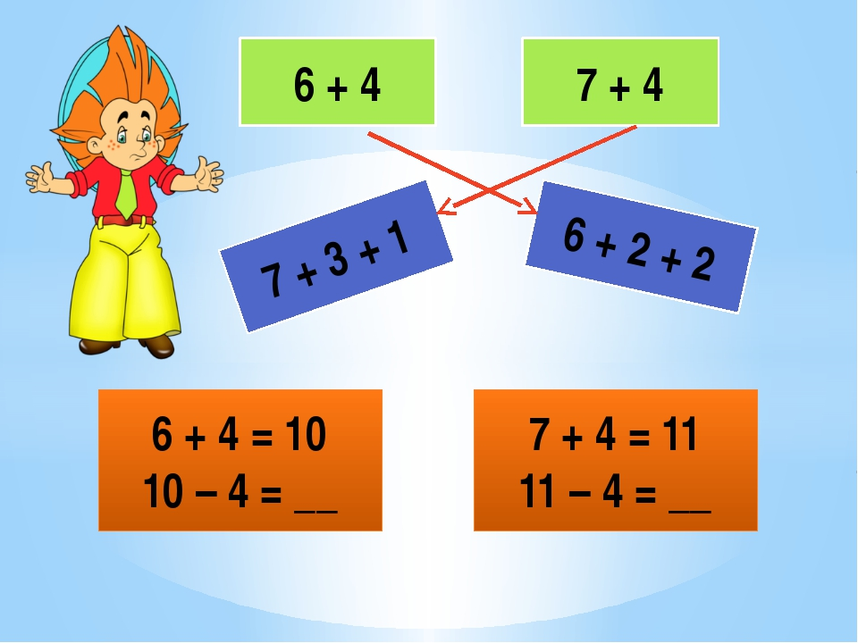 6 + 4 7 + 4 6 + 2 + 2 7 + 3 + 1 6 + 4 = 10 10 – 4 = __ 7 + 4 = 11 11 – 4 = __