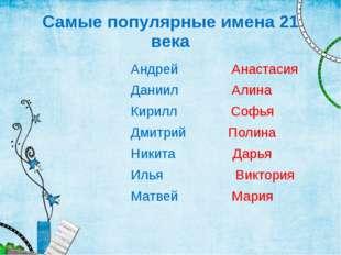 Самые популярные имена 21 века Андрей Анастасия Даниил Алина Кирилл Софья Дми