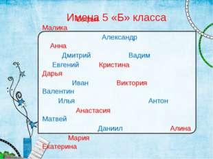 Имена 5 «Б» класса Софья Малика Александр Анна Дмитрий Вадим Евгений Кристина