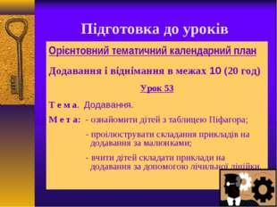 Підготовка до уроків Орієнтовний тематичний календарний план Додавання і відн