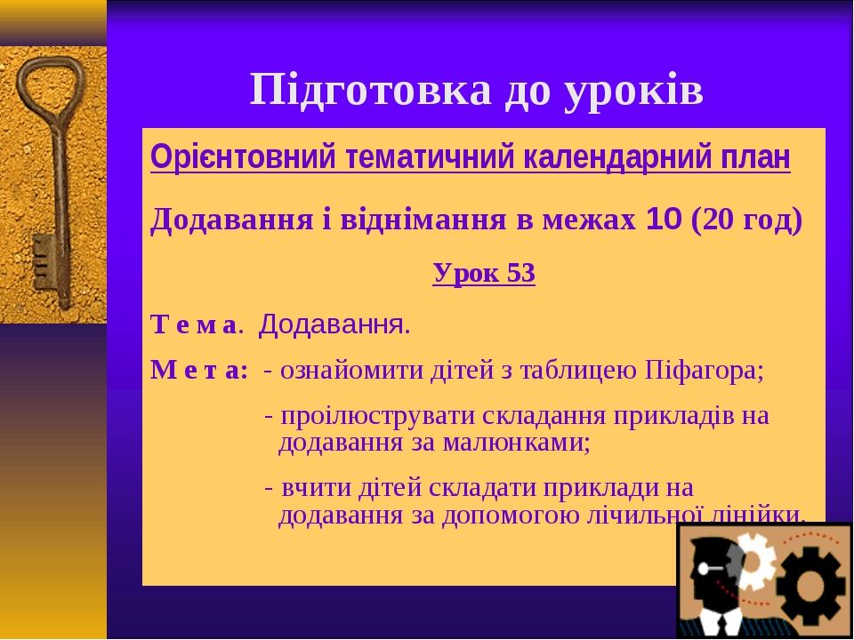 Підготовка до уроків Орієнтовний тематичний календарний план Додавання і відн...