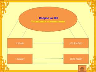 Вопрос на 300 Установите соответствие 1 Кбайт 1024 Кбайт 1 Мбайт 1024 Мбайт