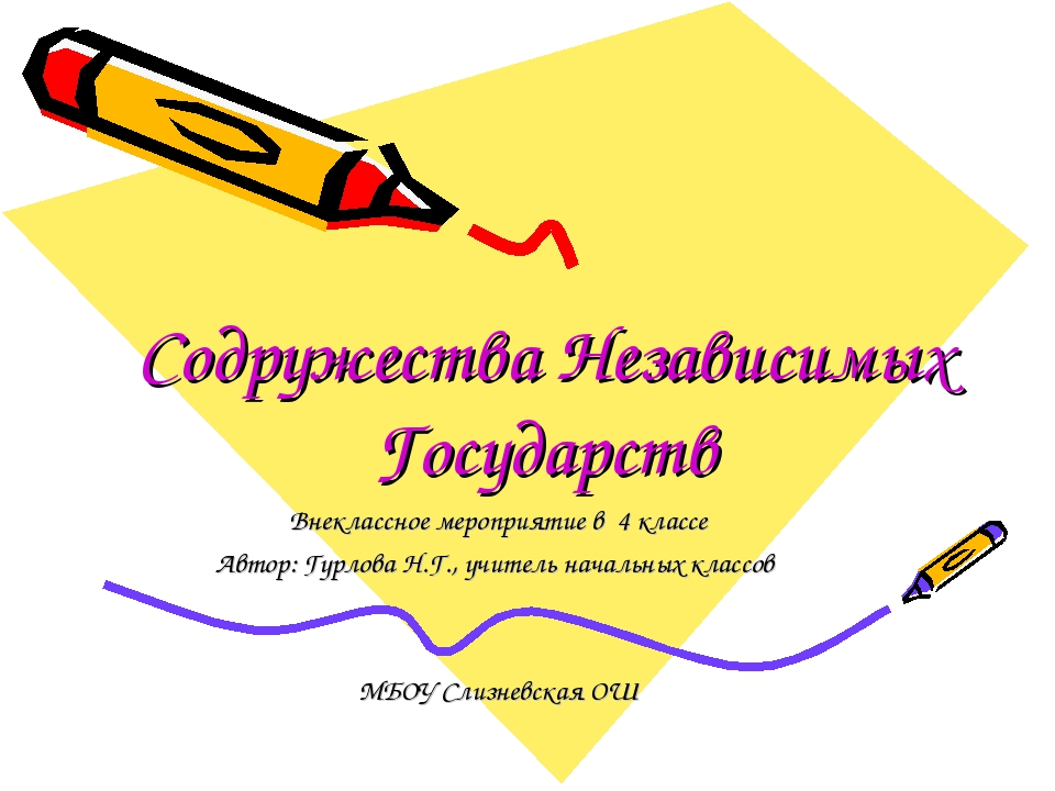 Содружества Независимых Государств Внеклассное мероприятие в 4 классе Автор:...
