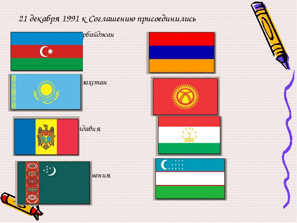 21 декабря 1991 к Соглашению присоединились Азербайджан Армения Казахстан Ки...