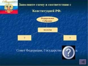 Совет Федерации, Государственная Дума. Федеральное Собрание ПАЛАТЫ ? ? Заполн