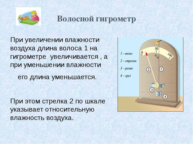 Волосной гигрометр При увеличении влажности воздуха длина волоса 1 на гигроме...