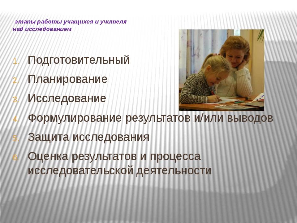 этапы работы учащихся и учителя над исследованием Подготовительный Планирова...