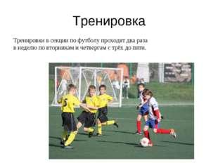 Тренировка Тренировки в секции по футболу проходят два раза в неделю по вторн