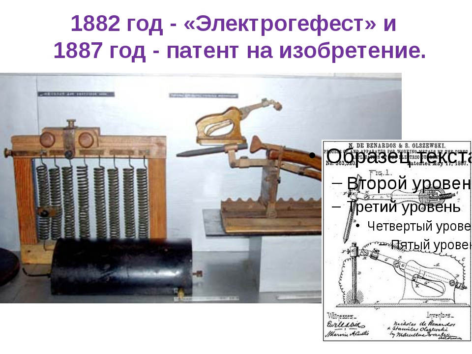 1882 год - «Электрогефест» и 1887 год - патент на изобретение.