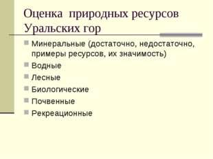 Оценка природных ресурсов Уральских гор Минеральные (достаточно, недостаточно
