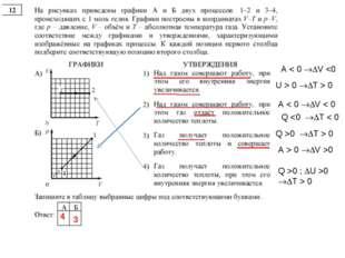 А < 0 V  0 T > 0 А < 0 V < 0 Q 0 T > 0 А > 0 V >0 Q >0 ; U >0 T