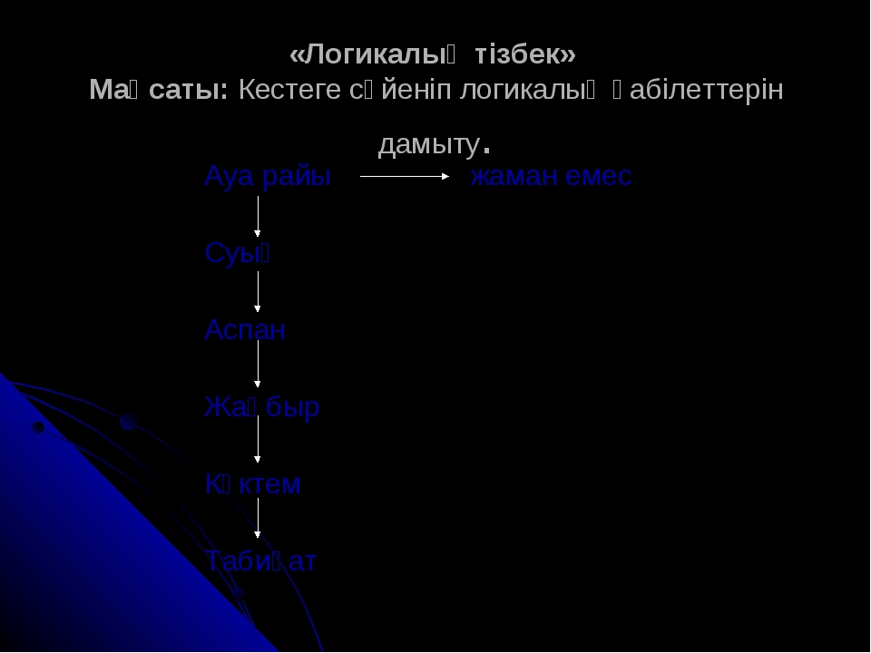 «Логикалық тізбек» Мақсаты: Кестеге сүйеніп логикалық қабілеттерін дамыту. Ау...