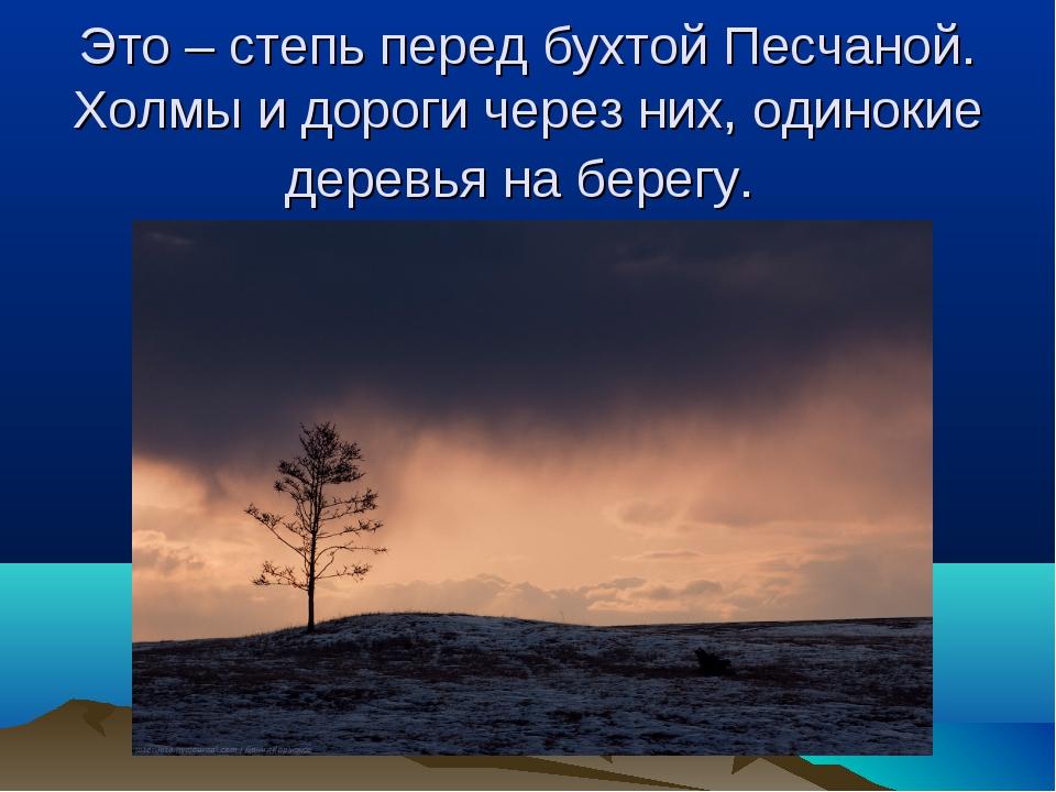 Это – степь перед бухтой Песчаной. Холмы и дороги через них, одинокие деревья...
